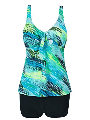 Perfashion Damen Trendiger Push Up Tankini mit Hotpants / Bikinihose Badeanzug Figur Optimizer Flacher Bauch Blau