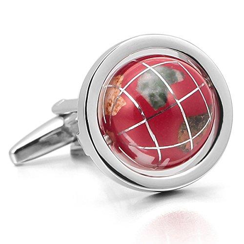 MunkiMix 2 Pièce Plaqué Rhodium Coquillage Boutons De Manchette Ton d'argent Rouge Globe Chemise Mariage Business 1 Paire Série Homme