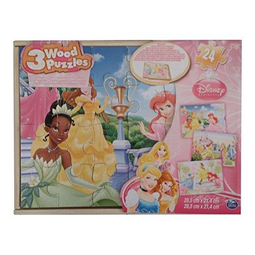 Disney Princess Legno Principesse Confezione con 3 Puzzle da 24 Pz, 6033126