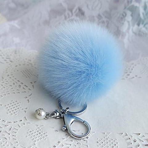 Hot Plush Ball Keychain ! Xshuai® Artificial Faux Fur Ball Keychain Bag Plush Car Key Ring Car Key Pendant (Sky