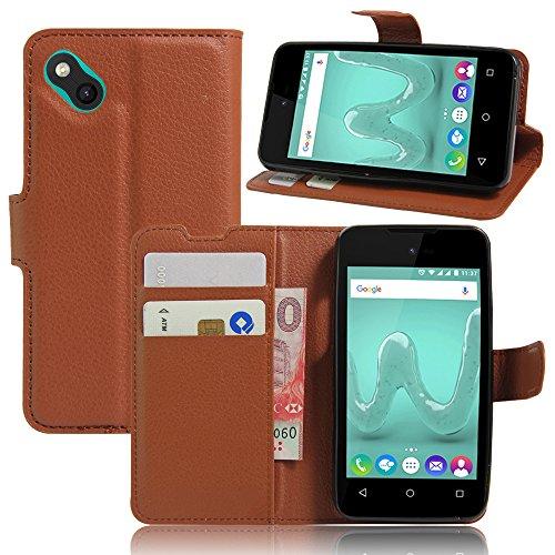 Nadakin Wiko B Kool Hülle Stand Schutzhülle PU Leder Flip Tasche Case mit Karte Halter und Magnetisch Bumper Ledertasche für Wiko B Kool (braun)