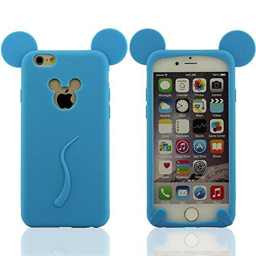 """Rose iPhone 6 Plus et iPhone 6S Plus (5.5 pouces) Silicone Gel Coque Case Housse étui de Protection, Super Souple Élastique & Ultra Mince, Mickey Style Design (ne pas tenir l'iPhone 6 4.7"""") Bleu"""