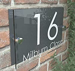 K Smart Sign House Sign Modern Glass Effect Acrylic Door Number Name Road Plate Plaque
