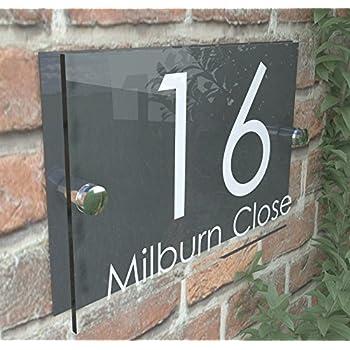 K Smart Sign Modern House Sign Plaque Door Number Street Glass
