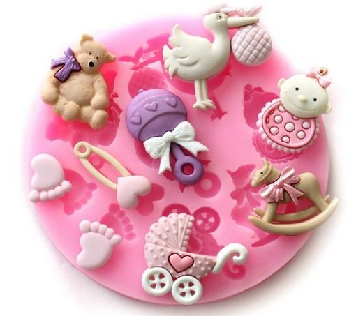 Silikonformen für Babypartys mit niedlichen Motiven wie Babyfüße, für Blütenpaste, Kuchendekoration - Silikonform Füße
