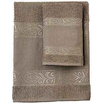 Gris Filet Set de serviettes avec invit/é 100/% /éponge de coton teinte unie avec insert en toile A/ïda /à broder