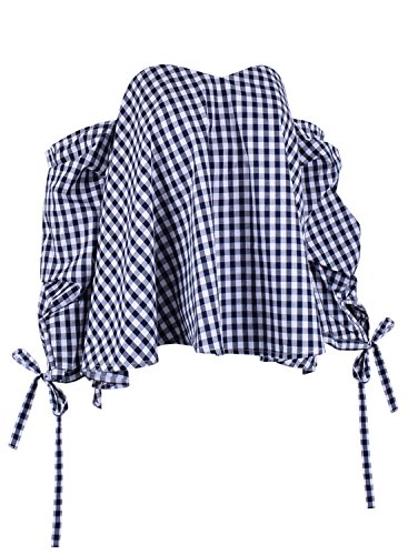 Azbro Women's Casual off the Shoulder Long Sleeve Loose Blouse Blue&white
