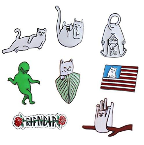 Tier Katze Persönlichkeit Brief Ausländer T-Shirt Schal Abzeichen Brosche und Pin Set für Frauen Kinder (8 Stück)