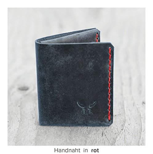 kleine & kompakte blaue mini Männer Heritage Geldbörse MONO aus bestem Leder, handgenäht & metallfrei – HAEUTE made in Germany