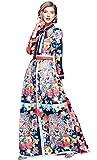 LAI&MENG Damen Partykleid mit Am Ausschnitt gebunden lang Ärmel Maxi Lang Kleid mit Animal-Print und Blumenmuster Sommerkleid Strandkleid