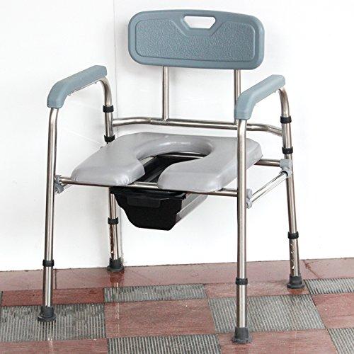 Comodino comò acciaio Commode pieghevole anziani donne incinte regolabile seduta