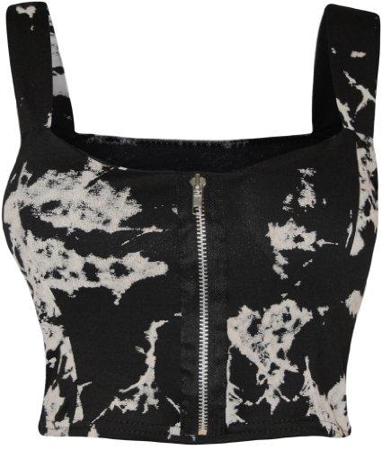 Batik-print Top (WearAll - Damen reißverschluss Bandeau Boobtube gepolsterte Trageriemen Crop Top Bralet - Batik - 36-38)
