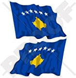 KOSOVO Kosovische Wehende Flagge, KOSOVO 75mm Auto & Motorrad Aufkleber, x2 Vinyl Stickers (Links - Rechts)