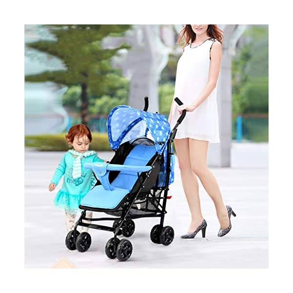 JIAX Foldable Baby Stroller,Travel System with Baby Basket Anti- Newborn Baby Pushchair Adjustable High View Pram Travel System Infant Carriage Pushchair (Color : Blue) JIAX ✤FUNCTION: The stroller can be used as a bed for babies aged 0-6 months. In addition, it can be replaced with a seat suitable for children aged 7-36 months. ✤GLOWING POINT: Only one step for braking or releasing the stroller, firm, wear-resistant, comfortable cushion, sitting mode, half-lay mode, flat-lay mode ✤MORE FEATURES: high enough to protect your baby from dust, can be paired with a dining table like a chair, and the canopy can be adjusted according to the weather 2