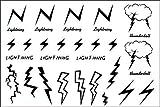 GRASHINE Hohe Qualität und realistischen Heißer Verkauf und modisch Tattoo-Aufkleber wasserdichte Männer und Frauen der schwarz-weißen Blitz Blitz Totem temporäre Tätowierung