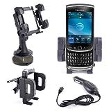 DURAGADGET Support Voiture Multifonction 3 en 1 pour Blackberry Torch 9860 et 9800 Phone - Support grille d'aération, pare-brise et tableau de bord + chargeur allume-cigare BONUS - Garantie à vie