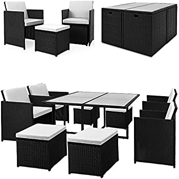 nordland premium gartenm bel set polyrattan f r 6 4 personen inkl glasplatten. Black Bedroom Furniture Sets. Home Design Ideas