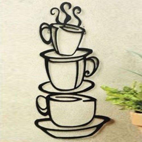 Java-finish (Coffee House Cup Java Silhouette Wand Kunst Aufkleber, Metall schwarz Finish)