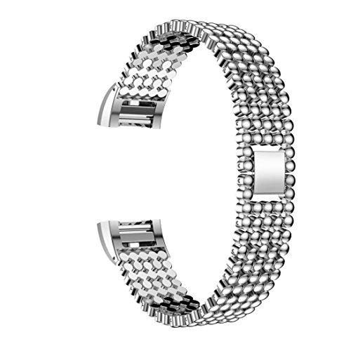 Preisvergleich Produktbild Sansee Stahl Perlen Stil Armband Smart Watch Band Strap für Fitbit Charge 2 (Fünf Baht Strap ) (Silber)