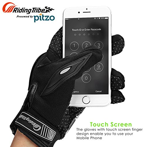 PITZO Probiker Riding Tribe Touch Screen Protective Gloves for Motor cycle / Bike /Moto Cross / Outdoor Sports Bicycle Cycling / Racing / Driving / Riding - Full Finger (L, Blue)