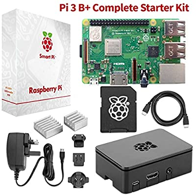 Raspberry Pi 3 B+ Complete Starter Kit Beginner Set w/ Pi3 B+ Motherboard, 64-Bit Quad-Core 1.4 GHz Processor, 32GB Preloaded NOOBS, Wireless LAN, Black Pi3 Case, Power Cord, HDMI Cable & 2 Heat Sinks par Raspberry