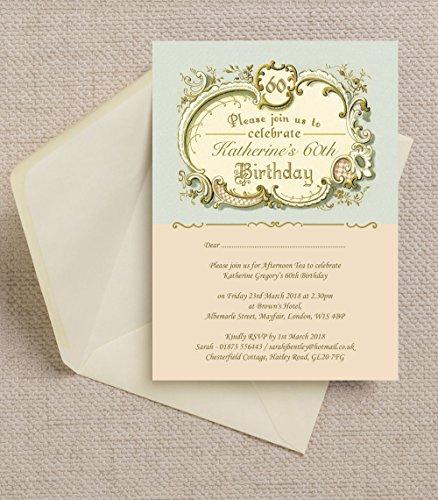 personalisierbar Antik/Vintage Geburtstag Einladungen mit Umschlägen (10Stück)