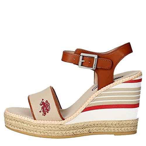 U.s. Polo Assn DORAS4061S6/YC1 Sandalo Donna Tessuto Beige