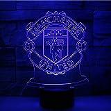 Lixiaoyuzz 3D Nachtlampe Neue 3D-Lampe Bunte Verfärbung Lampe Manchester United Team Berührt Nachtlampe Nachttischlampe Atmosphäre Geschenk