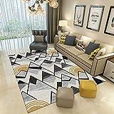JaYea Moderne Wohnzimmer Teppich Geometrische Muster 3D HD Druck Waschbar Schlafzimmer Teppich, Rutschfeste Erker Fenster Türmatte,DarkGray,200x300cm