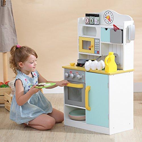 Teamson Kids TD-11708AR Florence-Cocina de Juegos de Madera, Color Blanco, Verde y Amarillo, White/Green & Yellow