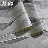Moda Pvc Negro Blanco Plata Papel Pintado A Rayas 3D Salón Moderno Impermeable Vinilo Textura Papel Pintado A Rayas Pared Rollo 0.53 * 10 M, 3