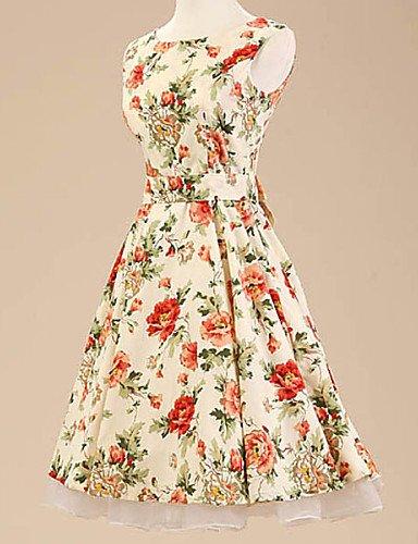 PU&PU Robe Aux femmes Trapèze Vintage / Soirée , Imprimé Bateau Au dessus du genou Coton / Polyester / Spandex screen color-xl