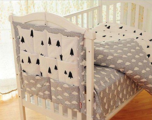 hibote Cotton Mehrschichtige Beutel-Speicher-Beutel-Multifunktionsbett hängen Baby-Windel-Organizer 55 * 60CM Cubes (Clouds Pattern) -