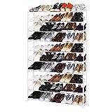 BATHWA Schuhregal mit10 Ablagen Schuhständer für 50 Paare Schuhe als Stabil Schuhschrank ca L92 x W17 x H138cm, Weiß