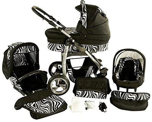 Chilly Kids Dino 3 in 1 Kinderwagen Set (Autosit & Adapter, Regenschutz, Moskitonetz, Schwenkräder) 29 Zebra