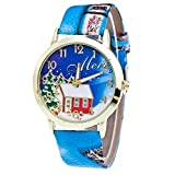 Watch, LANSKIRT Weihnachtsgeschenk Mode Design Analog Quarz Lady Glas Spiegel Uhr Schnee Haus Musterdruck Lederband für Weibliche (♥ Blue)