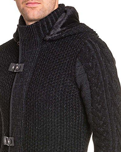 BLZ jeans - Schwarze Weste mit Reißverschluss dicken Kapuze Mann Netz Schwarz