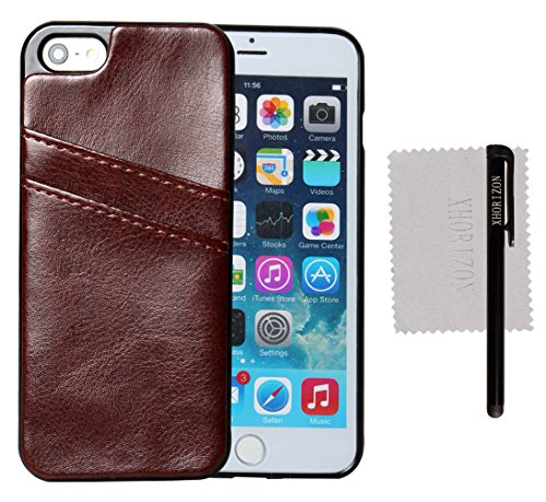 xhorizon® Hohe Qualität TPU und Leder Weich Case Hülle Brieftasche Kartenhalter Tasche für iPhone 5 5S Braun