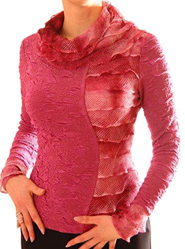 Tag Kleid Liebe Label (PoshTops Asymmetrisch Damen Bluse mit Wasserfallkragen Dehnbares Strukturiertem Material Damenshirt Lang Ärmel Größen S – XXXL Abendkleidung Freizeitkleidung Plus Size (Dusty Rose, M/40))