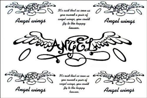 Fashion faux tatouages ailes étanche anglais ange faux tatouage