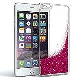 Apple iPhone 6 Plus / 6S Plus Schutzhülle mit Flüssig-Glitzer I von EAZY CASE I Handyhülle, Schutzhülle, Back Cover mit Glitter Flüssigkeit, aus TPU / Silikon, Transparent / Durchsichtig, Pink