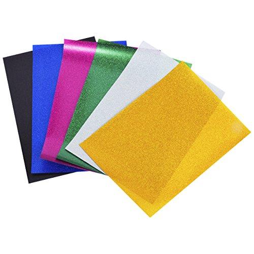 Magiin 6 Blatt Transferpapier Transferfolie Vinylfolien für Textilien DIY A4 Größe in 6 Farben Schwarz Rosa Blau Grün Gelb Weiß (Diy Pet Kostüme)
