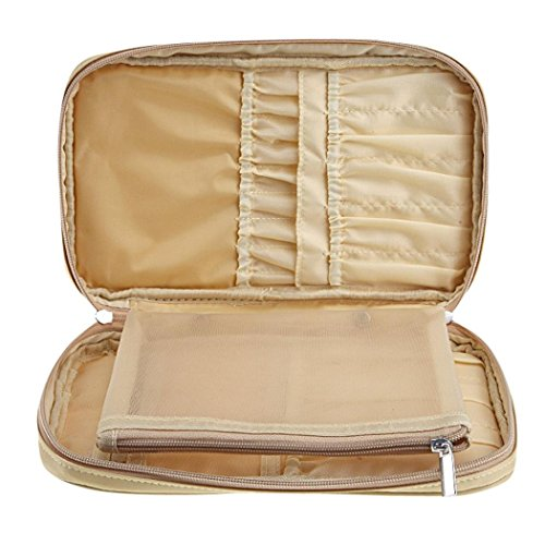 Makeup Organiser Bag,HOYOFO Professional Cosmetic Makeup Brush organizer Makeup Artist case with Belt Strap Holder Multifunctional Zipper Cosmetic Makeup Bag Handbag for Travel & Home(Gold)