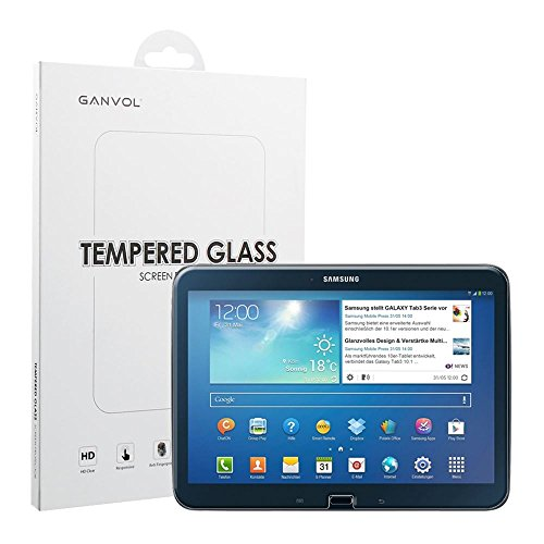 Ganvol Panzerglas Schutzfolie für Samsung Galaxy Tab 3 10.1 2013 GT-P5200 P5210 P5220 10 Zoll + Kurzer Kabelbinder