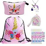 DRESHOW 5 Pack Cute Unicorn Mochila con cordón/Bolsa de maquillaje/PU Monedero Bolsos de embrague/Collar de cadena de aleación/Unicornios para el cabello