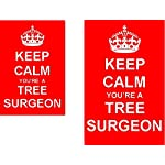 Keep Calm Youre A Tree Surgeon Novelty 2 Sided Keyring and Fridge Magnet Set
