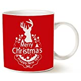 This Might be Wine Holiday Reindeer Coffee Mug Unique, Wish You a Merry Christmas and Happy New Year Ceramic Cup, Red 11 Oz