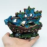 Sikete Emulational Piraten-Schiffs-Aquarium Dekorationen Harz-Fisch-Beh?lter Landschaft Ornament
