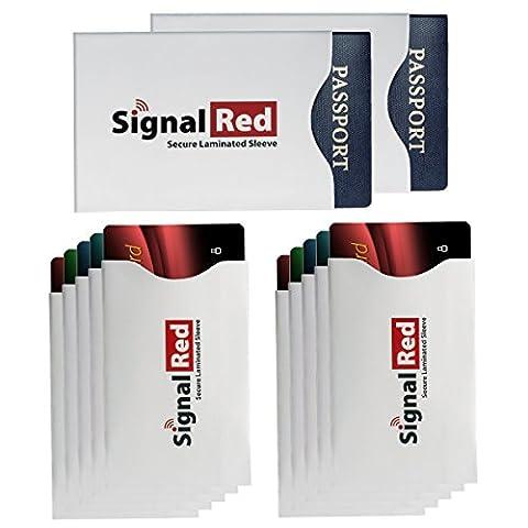 Signal Red Lot de 10 protecteurs plastifiés pour carte de crédit et de 2 protecteurs plastifiés pour passeport Anti-RFID Tient dans votre portefeuille ou sac
