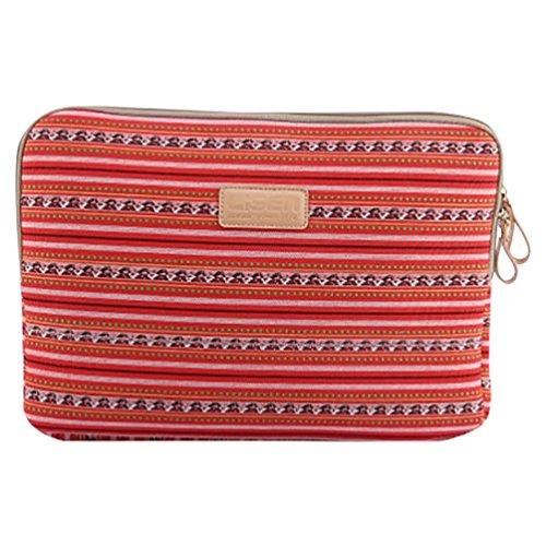 Baymate Unisex Bohème Stil Canvas Hülle Sleeve Tasche Für Macbook 11.6-15.6 Zoll 15.6 Zoll Licht Rot Streifen